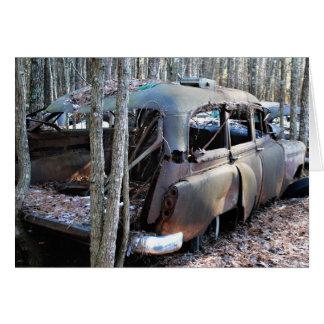 Old Vintage Wrecked Car Card
