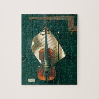 Old Violin Still Life by Harnett, Vintage Fine Art Jigsaw Puzzle