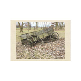Old Wagon In Fall On The Prairie Canvas