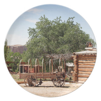 Old wagon, pioneer village, Utah Plate