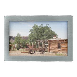 Old wagon, pioneer village, Utah Rectangular Belt Buckles