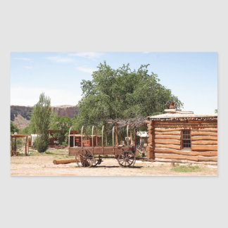 Old wagon, pioneer village, Utah Rectangular Sticker