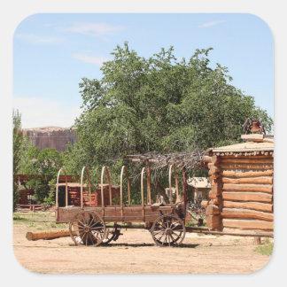 Old wagon, pioneer village, Utah Square Sticker