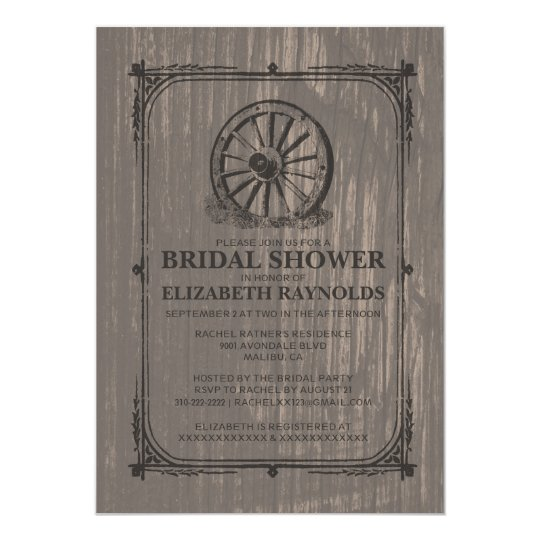 Old Wagon Wheel Bridal Shower Invitations
