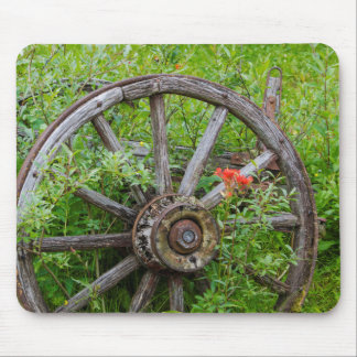 Old wagon wheel in historic old gold town 3 mouse pad