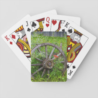 Old wagon wheel in historic old gold town 3 playing cards