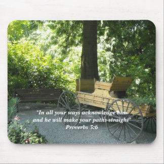 Old Wagon with Scripture Verse Mouse Pad