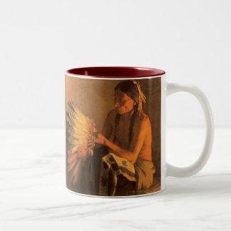Old War Bonnet by Joseph Henry Sharp Two-Tone Coffee Mug