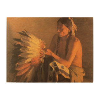 Old War Bonnet by Joseph Henry Sharp Wood Wall Art