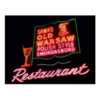 Old Warsaw, Broadview Il. Neon Sign, Post Card