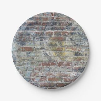 Old Weathered Brick Wall Texture 7 Inch Paper Plate