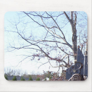 Old weathered oak in winter and old film projector mouse pad