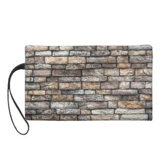 Old Weathered Stone Wall Texture Wristlet Clutch
