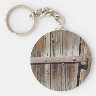 Old Weathered Wood and Rusty Metal Key Ring