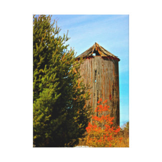 Old Weathered Wood Silo Wrapped Canvas Stretched Canvas Print