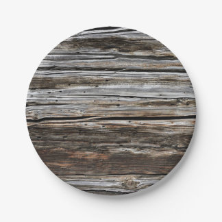 Old Weathered Wood Wall Texture 7 Inch Paper Plate