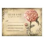 old wedding RSVP card with pink peony bloom Personalized Invitations
