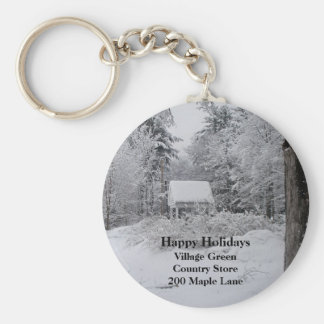 Old Well House in Winter Key Ring