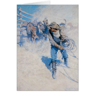 Old West Breaking Horses Greeting Card