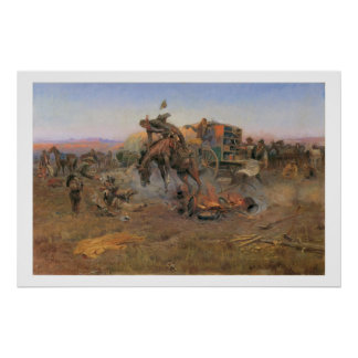 Old West Camp Cook's Troubles Art Print Poster
