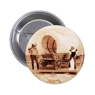 Old West Cats with Covered Wagon Pinback Buttons