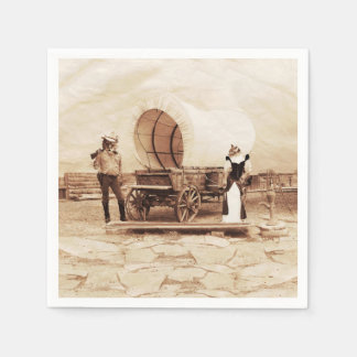 Old West Cats with Covered Wagon Disposable Napkins