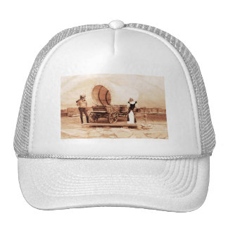 Old West  Cats with Covered Wagon Mesh Hat