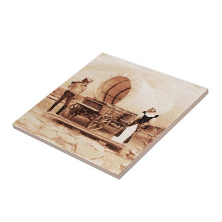 Old West  Cats with Covered Wagon Small Square Tile