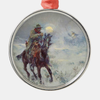 Old West Cowboy see's Santa Christmas Ornament
