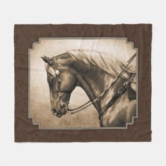Old West Quarter Horse Sepia Brown Fleece Blanket