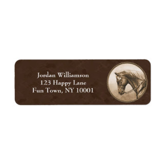 Old West Quarter Horse Sepia Brown Return Address Label