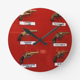 Old West Six-shooters Round Clock