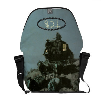 Old West Stage Coach Initial Travel Bag Messenger Bag