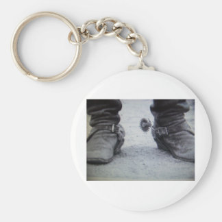 old western boot Black White photo Keychain