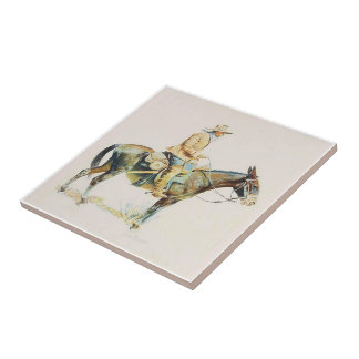 Old Western Cowboy Riding A Mule Tile