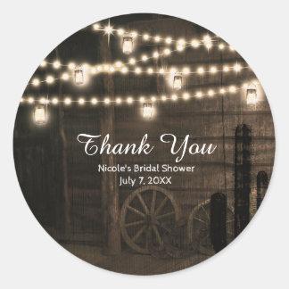 Old Western Saloon & Lights Rustic Wedding Favor Round Sticker