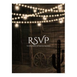 Old Western Saloon Rustic Wedding RSVP Postcard