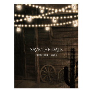 Old Western Saloon Rustic Wedding Save The Date Postcard