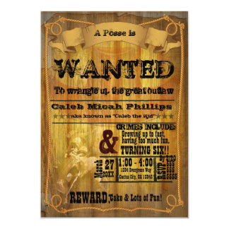 """Old Western WANTED Poster Party Invitation 5"""" X 7"""" Invitation Card"""
