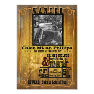"Old Western Wanted Poster with Photo Invitation 5"" X 7"" Invitation Card"