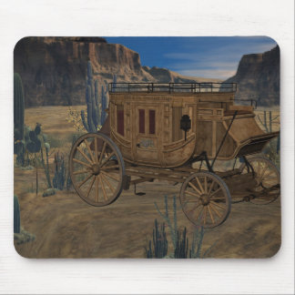 Old Wild West Stagecoach Desert Scene Mousepad