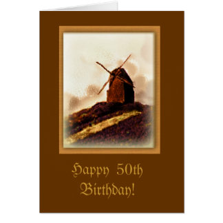Old Windmill Custom Birthday Card