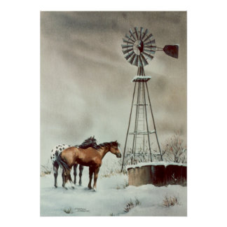 OLD WINDMILL & HORSES by SHARON SHARPE Poster