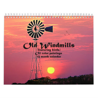 Old Windmills : Oil Color Paintings Wall Calendar