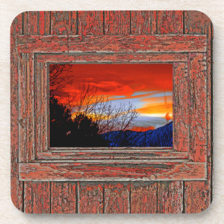 Old window red sunset beverage coaster