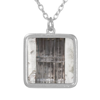 old window silver plated necklace