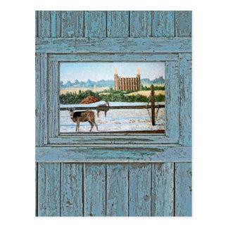 Old window temple blue postcard