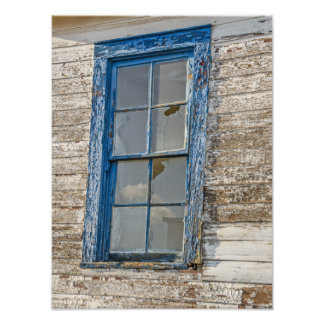 Old Window with Weathered Blue Paint Photo