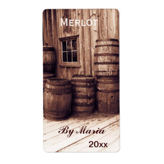 old wine barrels wine bottle label shipping label