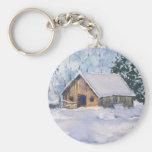 OLD WINTER BARN by SHARON SHARPE Keychain